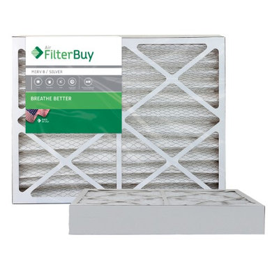 AFB Silver MERV 8 20x24x4 Pleated AC Furnace Air Filter. Filters. 100% produced in the USA. (Pack of 2)