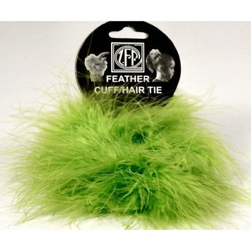 2 Lime Green Marabou Feather Hair Tie Scrunchy Pony Tail Holders NEW! [Toy]