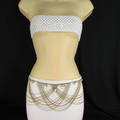 Women Metal Chains Fashion Belt Gold Imitation Pearls Waist 27-34 S M