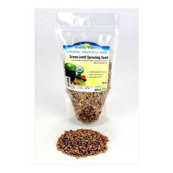 Organic Dried Green Lentil Sprouting Seed: 1 Lb - Dry Lentils for Planting Garden Seeds, Soup, Cooking or Sprout Salad, Sprouts
