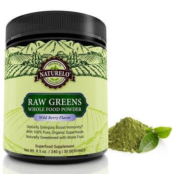 Naturelo Raw Greens Superfood Powder - with Organic Spirulina & Wheat Grass - 30 Servings