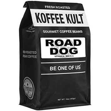 """Dark Roast, Whole Bean Colombian Coffee - Koffee Kult's Award-Winning """"Road Dog"""" Blend - 16 oz Full Body Arabica Coffee Beans - Rich, Sweet, Cocoa Finish - Fresh Roasted and Hand-Crafted by Artisans"""