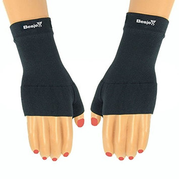 Besjex ® Compression Wrist Sleeve (1 Pair) for Men & Women - Great for Volleyball, Basketball, Baseball - Satisfaction Guaranteed (X Large, Black)