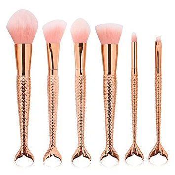 Luismia 6Pcs Fantasy Mermaid Tail MakeUp Brushes Set Foundation Powder Eyeshadow Blending Brush Kits Cosmetic concealer Brushes (g