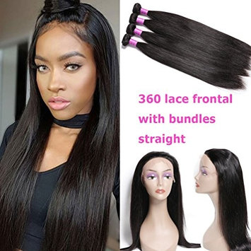 YoungFace 360 Lace Frontal with Bundles Straight 8A Peruvian Straight Bundles with 360 Lace Frontal Closure 22.5x4x2 Inch