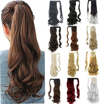 FRISTLIKE 18 Inches Wrap Around Synthetic Ponytail Clip in Hair Extensions One Piece Magic Paste Pony Tail Long Wavy Soft Silky for Wave Hair Piece