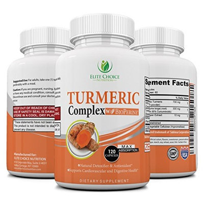 Turmeric Curcumin Complex with Bioperine – Up to 2000% better Absorption - Joint Relief, Anti-Aging Antioxidant, Anti-Inflammatory, Cardiovascular Support - 95% Standardized Curcuminoids - Non GMO