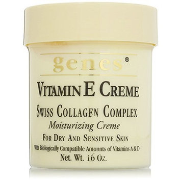 Vitamin E Creme for dry and sensitive skin 16 oz, - Family 3 pack! (Genes - Swiss Collagen Complex) by Genes