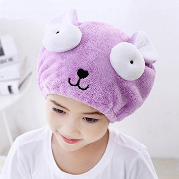 Adjustable Plush Cute Big Eyes Baby Hair Drying Hat Soft Baby Shower Hat Protect Baby Cap Quick Dry Hair Drying Cap Towel Head Wrap Hat Cute Strong Absorbing Hair Cap for Kid Boy Girl,Purple