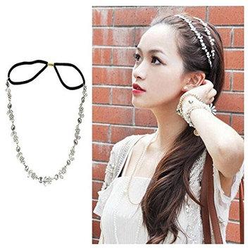 Women Silver Rhinestone Flower Hair Band Elastic Rhinestone Metal Headband Jewelry Hair Accessories
