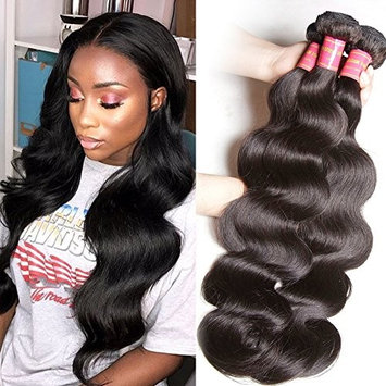 Sunber Hair Brazilian Body Wave Hair 3 Bundles Mixed Length 10A 100% Unprocessed Human Hair Weave Extensions Can Be Dyed and Bleached