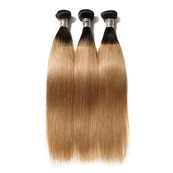 AOSUN HAIR 2 Tone Straight Hair 3 Bundles 10A Peruvian Virgin Straight Hair Weft 100% Real Human Hair Weave Extension Color 1b/27 (18