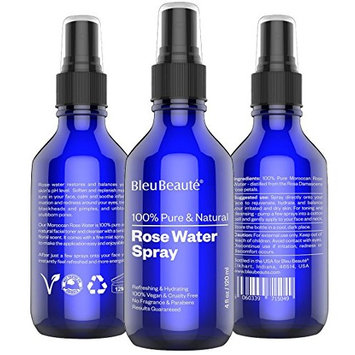 8 OZ ROSE WATER by Bleu Beauté - 100% Pure Facial Toner with a Tender Floral Scent - SPRAYER (2 Bottles of 4 OZ with separate sprayer)