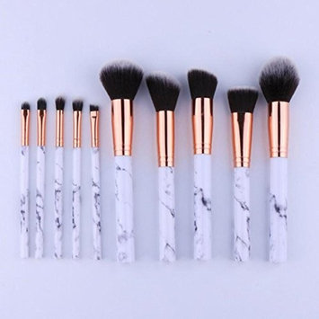 10 Pcs Marbling Handle Makeup Brushes Set Eye Shadow Eyebrow Cosmetic Tools Professional Natural Beauty Palette Eyeshadow Good-looking Popular Eyes Faced Colorful Hair Highlights Glitter Travel Kit