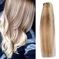 Clip in Hair Extensions Real Human Hair 7Pcs 70grams/2.45oz (14 inches, 12-613)
