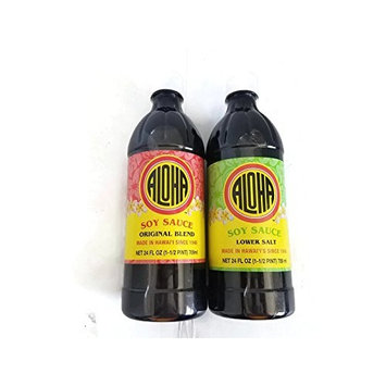 Aloha Shoyu Soy Sauce original blend & lower salt 24 oz (pack of 2)