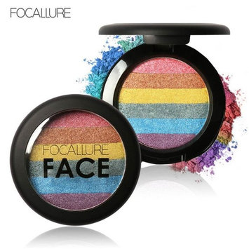 Mandy Focallure Rainbow Highlight Eyeshadow Palette Baked Blush Face Shimmer Palatte
