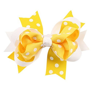 dds5391 Fashion Lovely Girls Polka Dot Duckbill Clip Bowknot Hair Clip Hair Accessory Gift - Yellow