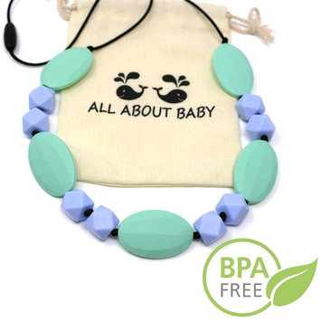 Turquoise Baby Teether Necklace For Mom To Wear - BPA Free