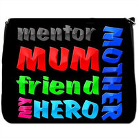 Happy Mothers Day Mum Mom In Crayons Black Large Messenger School Bag [Happy Mothers Day Mum Mom In Crayons]