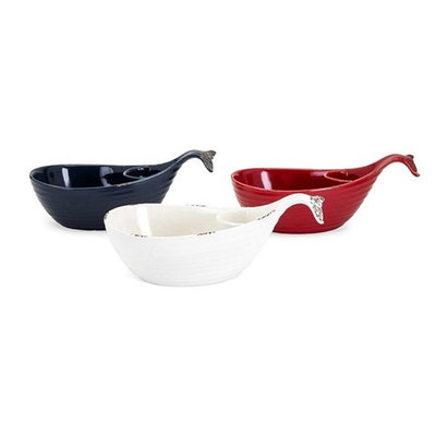Set of 3 Moby Dip and Chips Ceramic Whale Shaped Dishes 14���