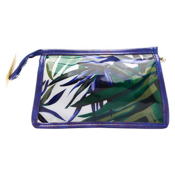 Cris Notti Blue Bamboo Square Cosmetic Bag