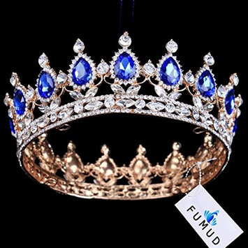 FUMUD Gold Plated Royal Regal Blue Rhinestones Quinceanera Vintage Luxury Tiaras And Crowns Wedding Party Accessories