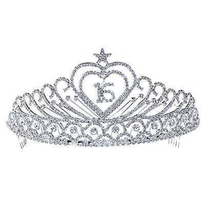 Sweet 15 & 16 Sparkling Crystal Heart Star Quinceanera 3.5