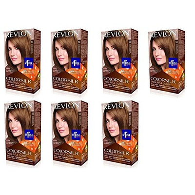 Revlon ColorSilk Hair Color 54 Light Golden Brown 1 Each (Pack of 7) + FREE Luxury Luffa Loofah Bath Sponge On A Rope, Color May Vary