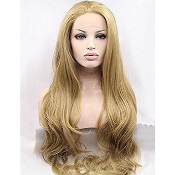 Women's Long Wavy Synthetic Lace Front Wigs #24 Golden Blonde Synthetic Lace Wig Glueless Heat Resistant Fiber Hair Half Hand Tied 22 inches