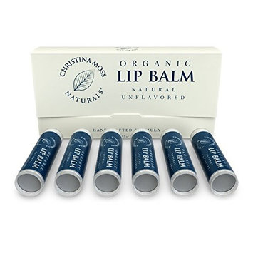 Lip Balm - Lip Care Therapy - Lip Butter - Made with Organic & Natural Ingredients - Repair & Condition Dry, Chapped, Cracked Lips - 6 Pack, Peppermint - Christina Moss Naturals [Peppermint]