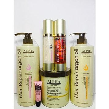 Alpha New York Organic Hair Repair Argan Oil Hydrating Shampoo 33.8 Oz, Hydrating Conditioner 33.8 Oz, Mask 33.8 Oz, Shine Spray 3.38oz & Hair Serum 3.38oz -Free Starry Lip Plumping Gloss 10ml
