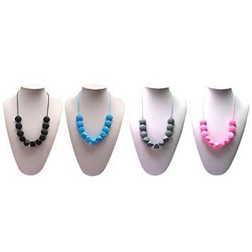 4pcs Silicone Teething Necklace, Baby Teether Infant Tooth Massage Training BPA Free, Great Gift for Mom