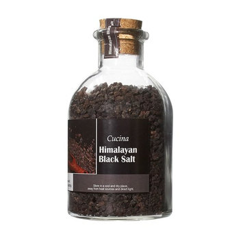 La Collina Toscana Cucina Black Himalayan Salt 22.8 Ounces Oversized Glass Jars with Cork Top, Himalayan Black Salt