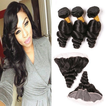 Brazilian Virgin Hair Loose Wave Hair Bundles With Closure 7A Full Lace Frontal 13X4 Wavy Human Hair Extensions 3 Bundle Double Weft 14 16 18 + 12 Inches