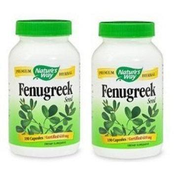 Natures Way Fenugreek Seed, 610 milligrams Per Cap, 180 Vegetarian Capsules. Pack of 2 bottles.