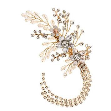 Homyl Fashion Wedding Bridal Bridesmaid Barrette Beads Flowers Tassel Rhinestone Golden Hair Clip Women Hair Accessory