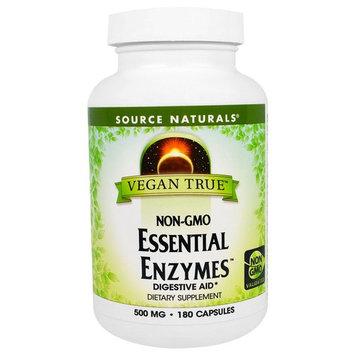 Source Naturals, Vegan True, Non-GMO Essential Enzymes, 500 mg, 180 Capsules