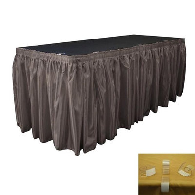 LA Linen SkirtBridal30X29-15Lclips-CharcoalB34 Bridal Satin Table Skirt with 15 L-Clips Charcoal - 30 ft. x 29 in.