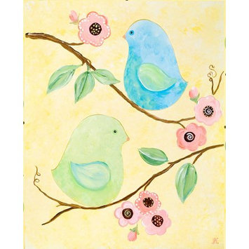 Green Frog Art Canvas Gallery Wrapped Art - Love Birds
