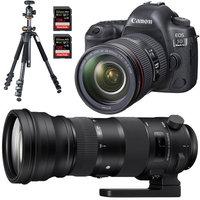 Canon EOS 5D Mark IV Full Frame DSLR Camera + 24-105mm + Sigma 150-600mm Lens Bundle