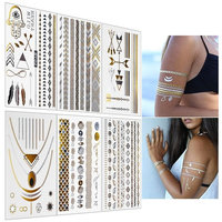 Inifty Temporary Tattoos Body Art Stickers Waterproof Shiny Jewelry Flash Tattoos High Gloss Shimmer Designs in Gold, Silver, Black & Blue Turquoise (6 Sheets Gold & Silver)