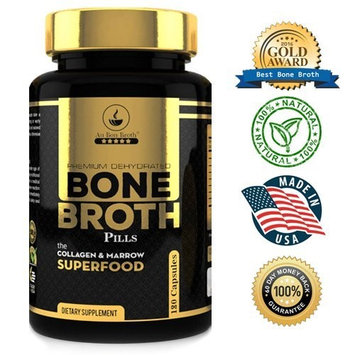 Au Bon Broth - Premium Dehydrated Bone Broth - 180 Capsules Organic Dehydrated Grass-fed Beef + Chicken Powder Blend