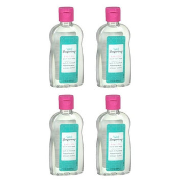 (4 Pack) Well Beginnings Baby Oil Hypoallergenic Moisturizing Travel Size 3oz: Beauty
