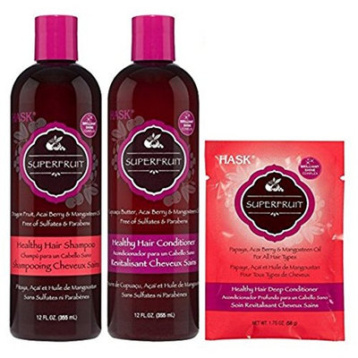 Hask Superfruit Healthy Hair Care Set ( Hask Superfruit Shampoo 12 oz, Hask Superfruit Conditioner 12 oz, Hask Superfruit Deep Conditioner 1.75 oz)
