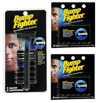 Bump Fighter Refill Razor w/ 2 Cartridges + Bump Fighter Refill Cartridge Blades - 5 ea. (Pack of 2) + FREE Luxury Luffa Loofah Bath Sponge On A Rope, Color May Vary