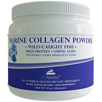 12 oz Marine Collagen Peptides Powder. Wild-Caught Fish, Non-GMO. Supports Healthy Skin, Hair, Joints and Bones. Hydrolyzed Type 1 & 3 Protein. Amino Acids, Unflavored, Easy