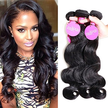 ISEE Brazilian Virgin Body Wave Human Hair 3 Bundles 100% Unprocessed Human Weave Hair Extensions for Black Women, Natural Black 10
