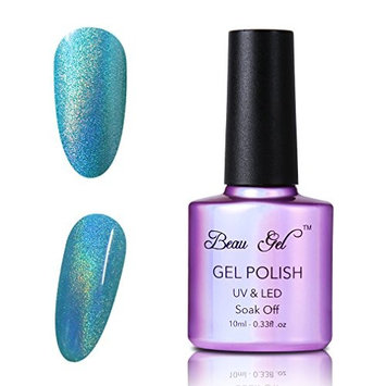 Rainbow holographic gel nail polish, Beau Gel Nail Art Chrome white 10ml 7012