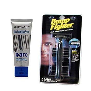 Barc Cutting Up, Unscented Shave Cream, 2 Oz + Bump Fighter Razor for Men + FREE LA Cross 71817 Tweezer